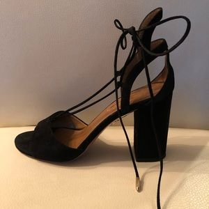 Aquazzura Black Suede Block Heel - Austin Sandal